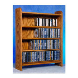 Wood Shed - 4 Shelf CD Storage (Unfinished) - Finish: UnfinishedCapacity: 275 CD's. Made from solid oak. Honey oak finish. 24.25 in. W x 7.25 in. D x 30 in. H