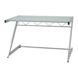 Euro Style - Euro Style Z Deluxe Medium Desk and Shelf X-10472 - The 'Z's are the structural sidebars of this remarkably strong desk.  Top and main shelves are durable tempered glass and the cross bar is reinforced with angled spars.  Perfect for heavy thinking.