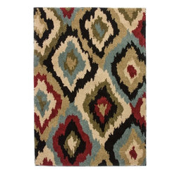 Infinity Home Source - Avenue Bliss Ikat Ivory 5' x 7' Infinity Home Area Rug (80002) - Luxury and durability come together in the Avenue collection. Warm neutral undertones create a cozy backdrop for a variety of jewel-toned patterns, resulting in versatile designs which flatter both traditional interiors and modern living spaces.  The collection features enough variety to suit any taste; modern geometrics, exotic ikat, and traditional florals are all crafted from easily maintained stain-resistant pile, to ensure that your rug will continue to look beautiful and fresh for years, while its 30mm Pile Height delivers the ultimate in comfort. Inspired by natural themes from traditional textile design, this rug features a modern twist on an ancient classic. With deep berry hues blossoming over a rich cream background, this floral design brings luxury and comfort to any living space. Oversized motifs allow the Cliffs Floral rug to complement a room from the background, or step forward as an accent piece. This rug is crafted from easily maintained stain-resistant pile, to ensure that your rug will continue to look beautiful and fresh for years.