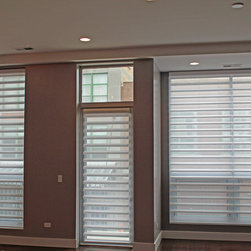 N. Carpenter St. Condos - Downtown Chicago - Skyline Window Coverings - Chicago - Finished Living Room.  These versatile shades worked well for the large double window, patio door & dining area smaller window.