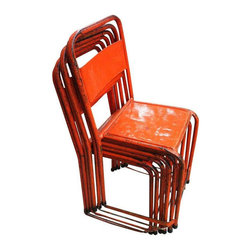 Bistro Chairs of Painted Steel - Set of 6 - $1,999 Est. Retail - $1,450 on Chair -