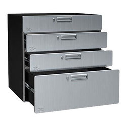 Steel Storage Drawers - Your custom steel cabinet system is sure to get a boost using our Steel Storage Drawers. Like our other modular components, these drawers have a stackable design with the option to add a stationary or rolling base cabinet. Other drawers (or cabinets) can be placed on top of this cabinet to customize your storage space. Four drawers make for easy storing of your hand tools, hardware, woodworking tools and other accessories. Three drawers are 6 inches high and the bottom one is 12 inches. Cabinet is 30 inches wide by 24 inches deep.