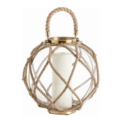 """Arteriors - Cormac Lantern, Large - This clear glass sphere has been hand wrapped with a natural jute rope that has then been used to create a handle.  The metal accents are finished in antique brass.  Available in  2 sizes.  Large lantern: 13"""" w x 13"""" d x 14 1/2"""" h  Small lantern: 11"""" w x 11"""" d x 10"""" h  This candle lantern is very nautical and natural."""