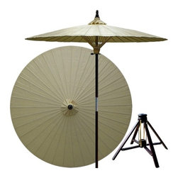 Oriental Unlimted - 7 ft. Tall Vanilla Patio Umbrella w Bamboo St - Includes Bamboo stand. Handcrafted and hand-painted by master artisans. 100% Waterproof and extremely durable. Umbrella shade can be set at 2 different heights, 1 for maximum shade coverage and the other for a better view of the shade. An optional base, which secures the umbrella rod and shade against strong winds and rain. Patio umbrella rod and base is constructed of stained oak hardwood for a rich look and durable design. Umbrella shade is made of oil-treated cotton. Minimal assembly required. Canopy: 76 in. D x 84 in. HChildren, helpful people and marriage are all attributed to white in the Oriental tradition. White is also an optimal color for mixing well with any outdoor color theme and in general signifies purity.