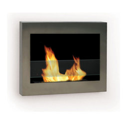 Anywhere Fireplace - SoHo 90299 - Wall-Mounted Bio-ethanol Fireplace | Anywhere - Anywhere Fireplace SoHo 90299 Wall Mounted Bio-Ethanol Fireplace features contemporary stainless steel design using eco-friendly bio-ethanol fuel.�_ The clean, geometric, sophisticated design of the wall mount�_SoHo�_model of the�_Anywhere Fireplace™�_is a stunning addition to any room. It works with any d�_cor. The warm glow created by the dancing flames of the fire will create atmosphere anywhere you wish to hang it – living room, bedroom, family room, dining room, anywhere…. Very easy to install on any wall and mounting hardware is included.Liven your living space with this portable fireplace. White polished rocks are provided, however you can choose to replace them with other color rocks, marbles, shells, sea glass etc. to suit your mood, a holiday or to change things up a little. It USES LIQUID ETHANOL FUEL made only for ventless fireplaces. Never substitute any other fuel. Be sure to NOT confuse it with the bio-ethanol and other fuels sold for cars other none fireplace applications. �_ Manufacturer: Anywhere FireplaceMeasures: 27.5 in. width x 5 in. depth x 19 in. heightFuel�_- ONLY�_Use Liquid-bio-ethanol fuel - not includedLocation:�_Indoors/Outdoors - Cannot be recessed or built into a wall �_