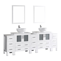 "Bosconi - 96"" Bosconi AB230RO3S Double Vanity, White - The elegant concept of your design perspective will be made clear with the most substantial piece in our collection. This 96"" glossy white Bosconi double vanity set is the obvious choice for a space in need of ample storage. The ceramic, round vessel sinks bring a modern feel while the perfectly coordinating mirrors pull the look together. Features include two spacious cabinets with soft closing doors, as well as, three detached side cabinets with three pull out drawers each. Plenty of space to house all of your essentials and more!"