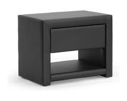 Baxton Studio - Baxton Studio Massey Black Upholstered Modern Nightstand - Hide all your bedtime necessities with style. Ideal for use alongside platform beds designed to rest very close to the floor, the petite Massey Designer Nightstand is made in Malaysia with a sturdy plywood and hardwood frame topped with a thin layer of foam padding and black faux leather. Storage features include a single drawer for all your bedtime necessities as well as a single open shelf. The modern bedside table, which comes fully assembled, is also available in white (sold separately). To clean, wipe with a damp cloth.