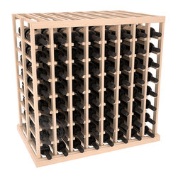 Double Deep Tasting Table Wine Rack Kit in Pine with Satin Finish - The quintessential wine cellar island; this wooden wine rack is a perfect way to create discrete wine storage in open floor space. With an emphasis on customization, install LEDs or add a culinary grade Butcher's Block top to create intimate wine tasting settings. We build this rack to our industry leading standards and your satisfaction is guaranteed.