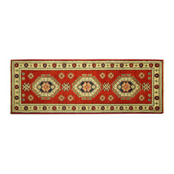 Manhattan Rugs - New Medallion Stay Hand Knotted Wool 2x6 Pure Red Veg Dyed Super Kazak Rug H5899 - Kazak (Kazakh, Kasak, Gazakh, Qazax). The most used spelling today is Qazax but rug people use Kazak so I generally do as well.The areas known as Kazakstan, Chechenya and Shirvan respectively are situated north of  Iran and Afghanistan and to the east of the Caspian sea and are all new Soviet republics.   These rugs are woven by settled Armenians as well as nomadic Kurds, Georgians, Azerbaijanis and Lurs.  Many of the people of Turkoman origin fled to Pakistan when the Russians invaded Afghanistan and most of the rugs are woven close to Peshawar on the Afghan-Pakistan border.There are many design influences and consequently a large variety of motifs of various medallions, diamonds, latch-hooked zig-zags and other geometric shapes.  However, it is the wonderful colours used with rich reds, blues, yellows and greens which make them stand out from other rugs.  The ability of the Caucasian weaver to use dramatic colours and patterns is unequalled in the rug weaving world.  Very hard-wearing rugs as well as being very collectable