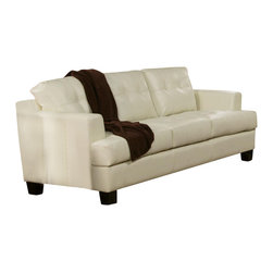 Adarn Inc - Samuel Tapered Arms Wood Block Feet Attached Cushions Sofa, Cream - This contemporary bonded leather sofa will be a gorgeous addition to your living room. The plush modern tufted look back cushions, and deep seat cushions make this piece comfortable and cozy. Sleek track arms and square tapered feet finish the look. The sophisticated bonded leather is over a solid hardwood frame, webbed back, and sinuous spring base for support and long lasting comfort. This piece will blend beautifully with your contemporary living room decor.
