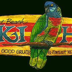 Red Horse Signs - Vintage Beach Signs Tiki Hut Bar - This  unique  shaped  vintage  sign  features  a  brightly-colored  parot  in  an  oval-shaped  wood  sign.  Text  reads,  Sunset  Beach  Tiki  Hut.  Way  good  grunts  &  Sweet  Nectors.  A  favorite  for  your  own  poolside  bar,  you  can  customize  up  to  two  lines  of  text.