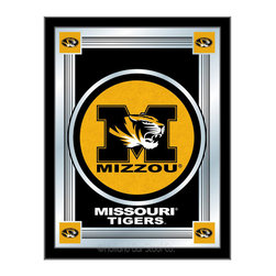 """Holland Bar Stool - Holland Bar Stool Missouri Logo Mirror - Missouri Logo Mirror belongs to College Collection by Holland Bar Stool The perfect way to show your school pride, our logo mirror displays your school's symbols with a style that fits any setting.  With it's simple but elegant design, colors burst through the 1/8"""" thick glass and are highlighted by the mirrored accents.  Framed with a black, 1 1/4 wrapped wood frame with saw tooth hangers, this 17""""(W) x 22""""(H) mirror is ideal for your office, garage, or any room of the house.  Whether purchasing as a gift for a recent grad, sports superfan, or for yourself, you can take satisfaction knowing you're buying a mirror that is proudly Made in the USA by Holland Bar Stool Company, Holland, MI.   Mirror (1)"""