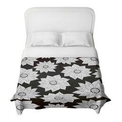 DiaNoche Designs - Elegant Floral Duvet Cover - Lightweight and super soft brushed twill duvet cover sizes twin, queen, king. Cotton poly blend. Ties in each corner to secure insert. Blanket insert or comforter slides comfortably into duvet cover with zipper closure to hold blanket inside. Blanket not included. Dye Sublimation printing adheres the ink to the material for long life and durability. Printed top, khaki colored bottom. Machine washable. Product may vary slightly from image.
