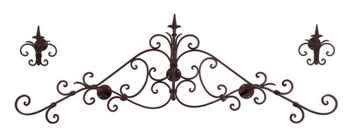 Imax - iMax Headboard/Curtain Set - Set of 3 X-3-72501 - Wrought iron scrollwork lends this curtain set an air of authenticity and antique charm.