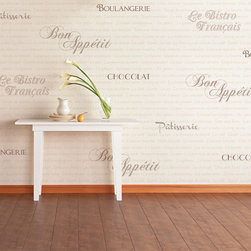 French Bistro Lettering Stencil Set - Typography and lettering stencil: French Bistro Wall Stencil Set. Create the ambiance of a French cafe in any room with this unique lettering stencil set. Includes our French Menu wallpaper stencil pattern, as well as individual word labels in varying font scripts.