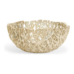 """IMAX - Vargas Cutwork Decor Bowl - With intricate detailing resembling graceful climbing vines, the Vargas Cutwork Bowl has an organic elegance and a stunning textural appeal sure to enhance any decor. For a coordinated look purchase matching pieces.  Item Dimensions: (5.5""""h x 12.5""""d)"""