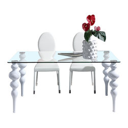 "Dupen Furniture - Dupen Modern 75"" Dining Table in White - Dupen Furniture - Dining Tables - 767TABLEWHITE75' -This dining set offers a contemporary approach in design with a slight classic flavor. Durable wooden construction combined with thick glass gives this set its ultra modern exterior while the white color of the set adds a touch of elegance."
