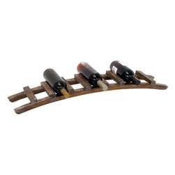 """Benzara - Wine Rack in Chocolate Brown Finish with Rich Appeal - Keep your exquisite wine bottles on display with this designer curved wood wine rack? Place it in any modern or traditional interior decor, it is sure to attract admiring eye glances. With classic wooden looks and curved design, it can hold up 7 of your best bottles at display together. It is extremely easy to place in and to take out bottles from this wine rack. You can very easily carry it along wherever you desire. If your guests are in the lawn, you can carry the rack easily from your bar area to the garden. Made out of the finest wood quality and offered in a chocolate brown finish with a rich appeal, this wine rack is durable, beautiful and very long lasting.; Curved design for a creative effect; Made of high quality metal; Can hold up to 7 bottles; Suits conventional and modern decor; Weight: 2.21 lbs; Dimensions:35""""W x 7""""D x 4""""H"""