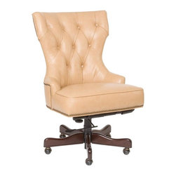 """Hooker Furniture - Desk Chair - Surreal Jarry Leather - White glove, in-home delivery!  For this item, additional shipping fee will apply.  Developed by one of America's premier manufacturers to offer quality furniture at affordable prices.  Each piece is meticulously hand-crafted using the most exquisite leathers in the world.  The Desk Chair is available in Surreal Simone (Pale Bisque), Surreal Jarry (Tan), or Al Fresco Baca (Silver Grey) leather.  Frame Construction- Kiln dried, laminated, and select hardwoods that are precision machined for fluid and consistent shape.  Leg Finish: Dark Walnut.  Inside dimensions: 24 1/2"""" w x 18 1/2"""" d  Seat Height adjusts: 19"""" h to 21"""" h  Arm Height adjusts: 22"""" h to 24"""" h  Padding- Pattern cut urethane foam that is padded with felt polyester fibers, assuring the important qualities of comfort, loft, resilience, and good recovery.  Seat- A high resilient, high density foam core wrapped with virgin polyester fibers, assuring luxurious comfort and pleasing crown appearance.  This is then covered with a special ticking for pillow soft comfort.  Seat Back- Filled with precision cut foam and highly resilient polyester fibers or filled with 100% virgin polyester fibers enclosed in a special ticking for pillow soft comfort.  The color of fabric and leather may vary from that shown on screen."""