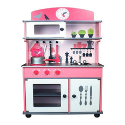 Berry Toys - Berry Toys My Very Own Pink Wooden Play Kitchen - W10C026 - Shop for Cooking and Housekeeping from Hayneedle.com! The Berry Toys My Very Own Pink Wooden Play Kitchen has everything your little chef needs! This wooden play kitchen has the sturdy construction you need for years of play cooking fun. The unit includes an oven and microwave with see-through doors that open and close a countertop range and sink and a cabinet and shelf for storage. The sink bowl is removable for easy cleaning and the background decorations and accessory hooks make the whole thing look just like a real kitchen. Plus you won't need to buy separate accessories to get your child started in this kitchen they're included! This set includes a pan a pot with a lid two spatulas a cooking spoon and an oven mitt. And since the cooking accessories are made of wood also they'll last just as long as the kitchen unit. Let your budding chef get on her way with the Berry Toys My Very Own Pink Wooden Play Kitchen.About Berry ToysBased in Chino Hills California Berry Toys is a leading manufacturer of children's toys. Berry Toys aims to educate children through play and their toy selection includes play kitchens play foods musical instruments play tools and more. If you want affordable pricing quality customer service and educational toys that are manufactured according to the highest standards Berry Toys can deliver.