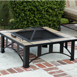 Fire Sense Tuscan Tile Mission Style Square Fire Pit - The steel frame of the Fire Sense Tuscan Tile Mission Style Square Fire Pit creates a stable base, perfect for any outdoor entertaining area. -Mantels Direct
