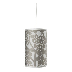 Oilo - Modern Berries Cylinder, Taupe - The modern berries on this drum shade make a great statement in any room. The simple white cord can be adjusted to hang the light from any length up to 55 inches. It would look great accenting a corner or hanging in the center of a small room.