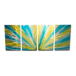 Miles Shay - Metal Wall Art Decor Abstract Contemporary Modern Sculpture- Radiance Blue Yello - This Abstract Metal Wall Art & Sculpture captures the interplay of the highlights and shadows and creates a new three dimensional sense of movement as your view it from different angles.