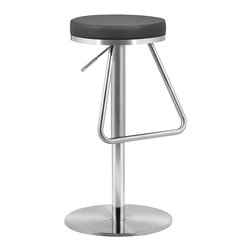 Zuo - Black Soda Barstool - Boasting a lustrous and plush leatherette top supported by a cool stainless steel frame, this barstool brings sleek sophistication and comfort to your bar table.   Weight capacity: 230 lbs. 15'' W x 22'' to 31'' H x 14'' D Leatherette / stainless steel Assembly required Imported