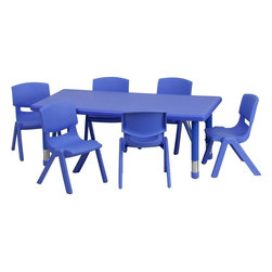 Flash Furniture - Adjustable Blue Plastic Activity Table Set with 6 School Stack Chairs - This table set is excellent for early childhood development. Primary colors make learning and play time exciting when several colors are arranged in the classroom. The durable table features a plastic top with steel welding underneath along with height adjustable legs. The chair has been properly designed to fit young children to develop proper sitting habits that will last a lifetime.