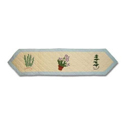 Patch Magic - Herb Garden Table Runner - 16 in. W x 72 in. LHandmade, Hand quilted Table Runner made from 100% Cotton. Machine washable, but for best care hand wash in cold water. Do not machine dry. Do not dry clean.