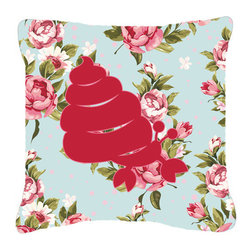 Caroline's Treasures - Hermit Crab Shabby Chic Blue Roses Fabric Decorative Pillow Bb1092 - Indoor or Outdoor Pillow made of a heavyweight Canvas. Has the feel of Sunbrella Fabric. 14 inch x 14 inch 100% Polyester Fabric pillow Sham with pillow form. This pillow is made from our new canvas type fabric can be used Indoor or outdoor. Fade resistant, stain resistant and Machine washable.