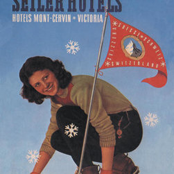 Buyenlarge - Seiler Hotel: Woman Adjusting Skis 20x30 poster - Series: Skiing