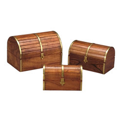 AA Importing - Barrel-Top Wooden Boxes, Medium Brown Finish - Set of 3. Gold metal accents. Hinged lid that opens to storage. Set includes small, medium and large wooden boxes. Small: 6.5 in. L x 3 in. W x 4 in. H. Medium: 7.75 in. L x 4.75 in. W x 4.75 in. H. Large: 9 in. L x 6 in. W x 9 in. H