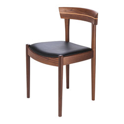 Kathy Kuo Home - Connor Mid Century Modern Walnut Black Leather Dining Chair - Pair - A double dose of rich, beautiful black leather, finely upholstered over American walnut chairs sets the table for classic comfort. Perfect for a modern dining room with a complementary wood table, these chairs will seat your guests in the lap of luxury through meals, desserts and after hours.