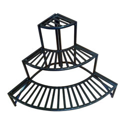 Pangaea Home and Garden - Three Layer Folding Corner Plant Stand - Sturdy and handmade folding rectangle corner plant stand. Can be used both indoors and outdoors. Slatted shelves. Provides strong and secure surface for everyday use. Powder coated for year round weather. Environmental friendly. 8 in. deep shelves. Warranty: One year limited. Made from recycled wrought iron. Black color. Assembly required. Stand when folded: 25 in. W x 4 in. D x 41 in. H. Stand when set up: 24 in. W x 24 in. D x 24 in. H (15 lbs.)