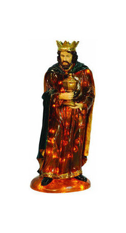 Christmas Nativity Set - Wise Man - No Nativity scene is complete without a Wise Man Gaspar figure. This fiberglass Christmas decoration is illuminated from within by clear, incandescent Christmas mini lights. The Wise Man Gaspar figure stands 2 feet, 8 inches tall and measures 15 inches in width. Suitable for indoor or outdoor use, the chip resistant fiberglass construction makes it ideal to stand in both commercial and home Christmas displays. With proper storage, this figure will last for generations to come.