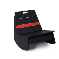 Loll Designs - Loll Designs Black Racer Rocker Chair - This low rocking chair has a funky modern style and a chic black color with a bright cherry red stripe that makes it stand out in a room or on a deck. A handle on the backrest of the side chair makes it easy to move around with the arrangement of your outdoor space, and its casual structure brings cheerful simplicity to a patio or deck. Bright, bold, youthful - this rocker is a fun piece to accent your contemporary decor.  As a member of the 1% for the planet organization, Loll Design donates 1% of its gross sales to a worldwide network of environmental organizations. Crafted from recycled plasticDurable and weather-resistant for outdoor useEasy assemblyMade in the USAShips in 6 weeks