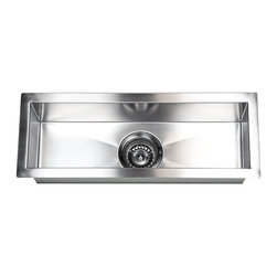 "Ariel - 23 Inch Stainless Steel Undermount Single Narrow Bowl Kitchen / Bar / Prep Sink - This bar style prep sink is made of 16-gauge stainless steel and features contemporary zero radius corners. Exterior Dimensions 23"" x 8-1/2"". Interior Dimensions 21"" x 6-1/2"". Depth 6""."