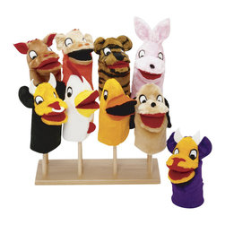 Guidecraft - Guidecraft Hardwood Puppet Stand - Guidecraft - Puppets and Puppet Theatres - G97050 - Solid hardwood puppet stand holds 8 hand puppets.