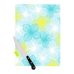"""Kess InHouse - Emine Ortega """"Aqua Sunshine"""" Blue Teal Cutting Board (11"""" x 7.5"""") - These sturdy tempered glass cutting boards will make everything you chop look like a Dutch painting. Perfect the art of cooking with your KESS InHouse unique art cutting board. Go for patterns or painted, either way this non-skid, dishwasher safe cutting board is perfect for preparing any artistic dinner or serving. Cut, chop, serve or frame, all of these unique cutting boards are gorgeous."""