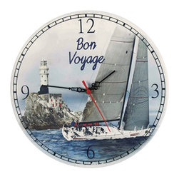 """Bon Voyage Clock - The bon voyage wall clock measures 12""""Dia. This wall clock features a beautiful lighthouse and sailboat scene in the background. It makes a great gift and is a beautiful addition to the home, office or restaurant/bar."""