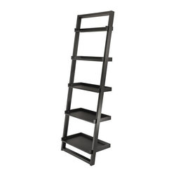Winsome Trading, INC. - Winsome Wood 29525 Bailey Leaning Shelf Tier Etagere - Features: Neat and simply design Finished in Black MDF and Wood construction 5-Tier shelves for convenient storage and display Modern design shelf leans against to the wall Assembly required Part of the Winsome Bailey collection Specifications: Overall product dimensions: 25.4D x 14.4W x 74.6H