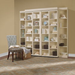 Murphy Beds - Madison Bi-Fold Murphy Bed in White Contemporary Finish with Eased Edge Trim