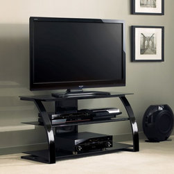 Bell O - Bell'O Flat Panel TV Stand - High Gloss Black - PVS4204HG - Shop for Visual Centers and Stands from Hayneedle.com! The sleek contemporary design of the BellO Flat Panel TV Stand - High Gloss Black makes the perfect center piece for your living space. In a high gloss black finish this stylish stand is durably constructed with solid wood veneers and a sturdy metal frame. Its sophisticated curved front accents two black tempered glass shelves ensuring a neat and organized space for your media consoles and accessories. Included with a cable management system for easily hiding unsightly wires and cords.About Bell'O InternationalBased in New Jersey the Bell'O corporation has become an industry leader in the world of audio/video furniture. Contemporary Italian style featuring high quality wood glass metal and other sophisticated features are the hallmarks of Bell'O. With award-winning products and continued precise detail and unmatched style ready-to-assemble furniture from Bell'O will add dynamic form and function to your home.