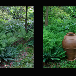 Pots in the Garden: Before and After - Stephen Procter garden vessels, Harvard, MA installation. Photo: Mamie Wytrwal