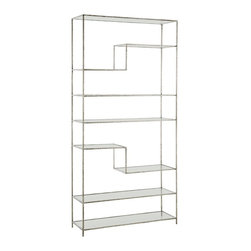 Arteriors - Worchester Bookshelf - A perfect display shelf made from textured iron bar stock and finished in bright silver leaf. The creative arrangement of the eight glass shelves helps you spotlight your collectables. We'd love to display a collection of handbags or shoes in a bedroom on this unique shelf.