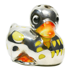 Lavish Shoestring - Consigned Silver & Porcelain Baby Duck Table Spice or Salt Condiment, Art Deco, - This is a vintage one-of-a-kind item.