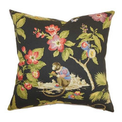 The Pillow Collection - Hava Black 18 x 18 Floral Throw Pillow - - Pillows have hidden zippers for easy removal and cleaning  - Reversible pillow with same fabric on both sides  - Comes standard with a 5/95 feather blend pillow insert  - All four sides have a clean knife-edge finish  - Pillow insert is 19 x 19 to ensure a tight and generous fit  - Cover and insert made in the USA  - Spot clean and Dry cleaning recommended  - Fill Material: 5/95 down feather blend The Pillow Collection - P18-D-42158-MIDNIGHTC100