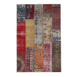 """Pre-owned Multicolor Pattern Mix Turkish Patchwork Carpet - Modern and traditional Turkish patterns from an assortment of vintage pieces mix to make this hand made, naturally distressed vintage rug. Full cotton backing and decorative blanket stitch edging.    Remnants of vintage wool on a cotton warp, made entirely by hand in the '60's through '80's when Turkish women still included weaving in their daily homemaking chores. Employing the sturdy double knot technique unique to Turkish rugs, multicolor floral and medallion motifs were created a row at a time using bright hand dyed wools. Considered too old fashioned for modern Turkish homes in their traditional incarnations, these rugs have languished in back rooms of the bazaars‰Ű_until now, as these fragments in excellent condition are overdyed and combined to create modern patchwork statements for the floor.    Note from the seller: """"Our revitalization process keeps rugs that may otherwise get tossed out of landfill. Repurposed discards are helping artisans connect and create, supporting the community we're building here in Istanbul to revive vanishing traditional fiber crafts.‰Űť    Please note that all sales are final - These amazing rugs are coming direct from Istanbul, Turkey and returns will not be allowed."""