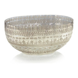 Etched Mercury Glass Bowl - Large - Bands of stylized leaves and flowers delicately etched in shimmering mercury glass lend the large Etched Mercury Glass Bowl a refined beauty befitting a European manor. Generously sized, the bowl captures the eye with a soft silver glow, making it a mesmerizing centerpiece for a dining table or sideboard, or a treasured addition to a collection of mercury glass artifacts.